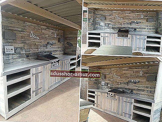 30 самодельных уличных кухонь из поддонов.